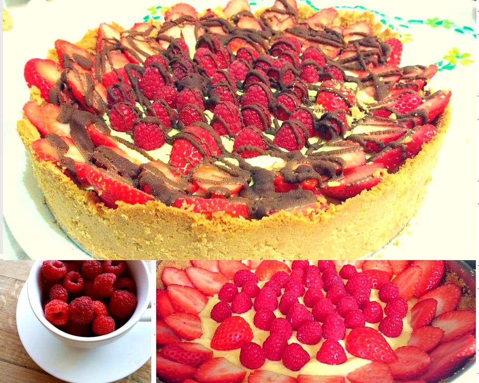 collage tarta fresas crema pastelera