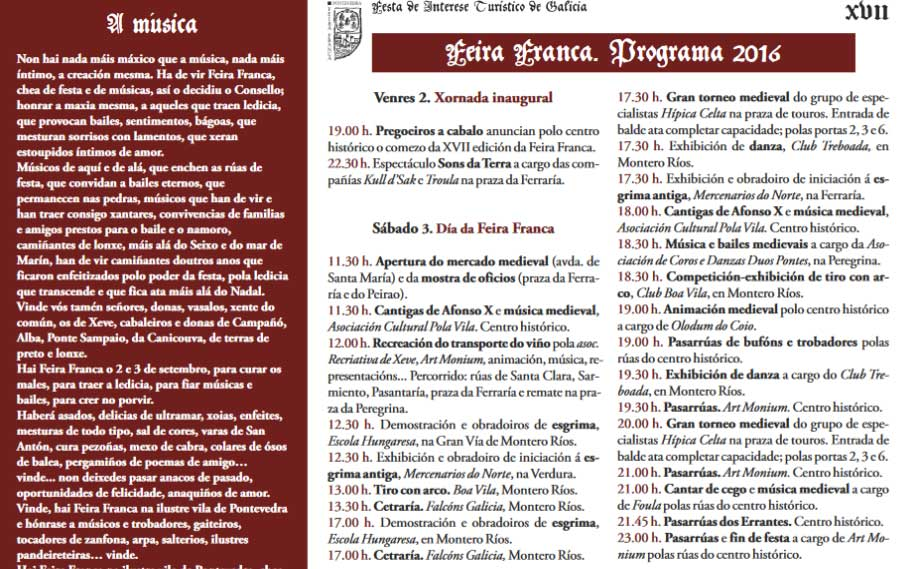 Programación Feira Franca 2016