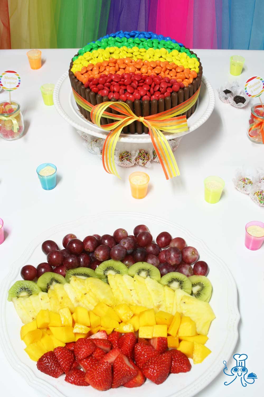 Fruta decorada arcoíris